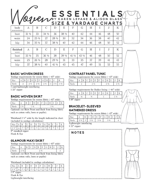 Woven Essentials size and yardage guide