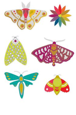 moth friends sticker set