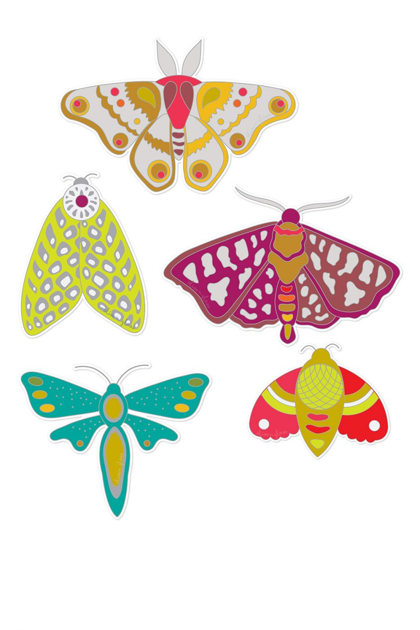 ex libris moth sticker set