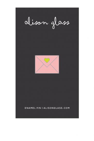 pink envelope enamel pin