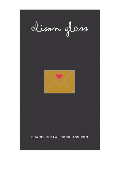 gold envelope enamel pin