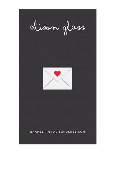 white envelope enamel pin