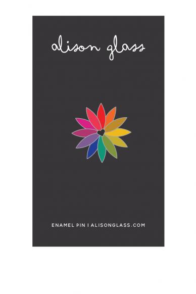 black rainbow flower enamel pin
