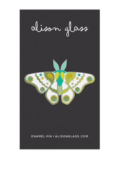 jade and green moth enamel pin