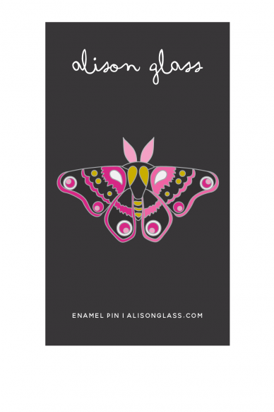 black and pink moth enamel pin