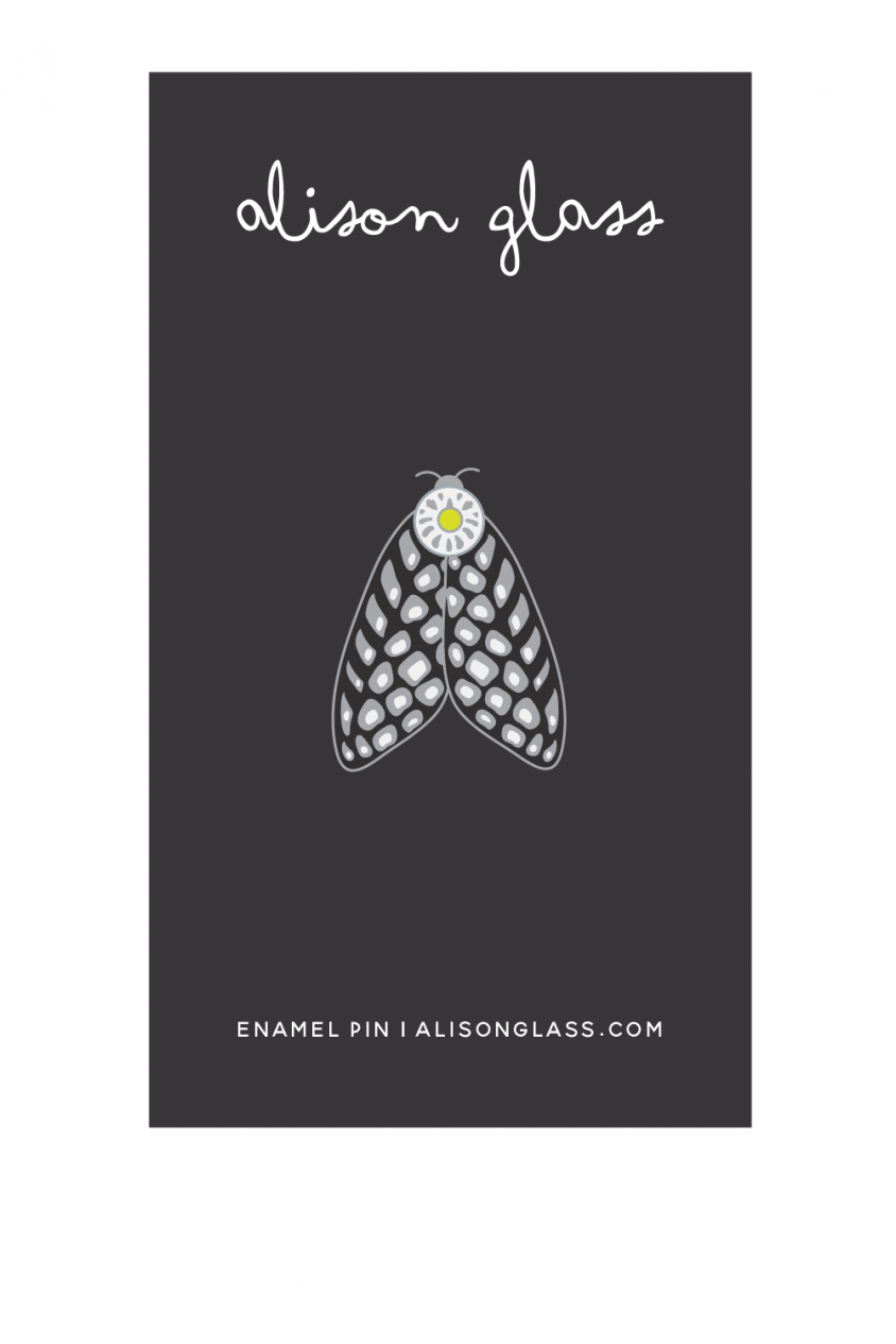 black spotted moth enamel pin