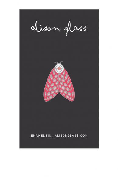 pink spotted moth enamel pin