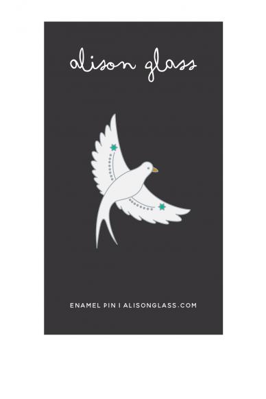 white flying bird enamel pin