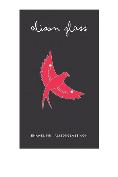 pink flying bird enamel pin