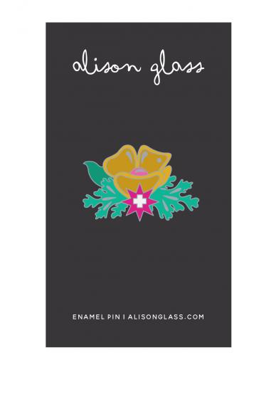 gold plus flower enamel pin