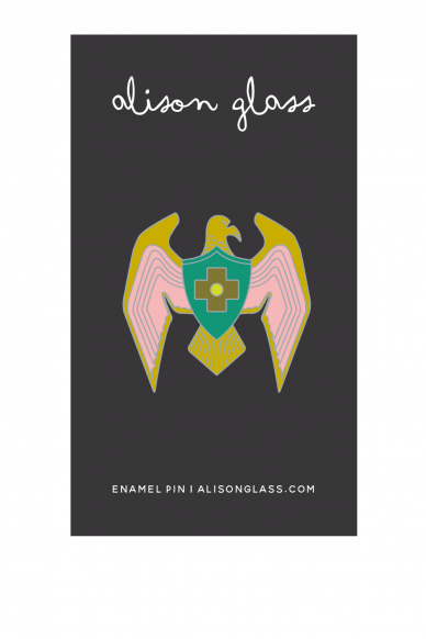pink eagle enamel pin
