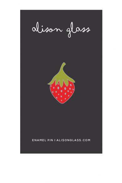 red strawberry enamel pin