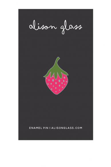 pink strawberry enamel pin