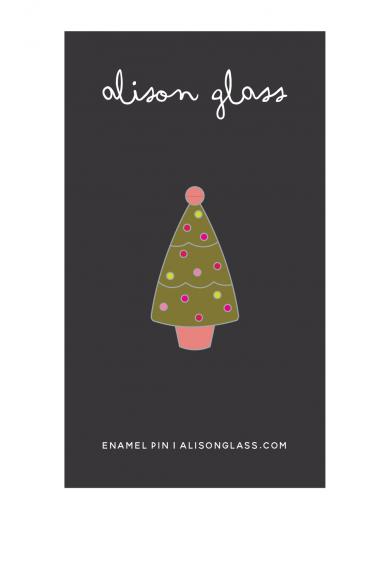 olive holiday tree enamel pin
