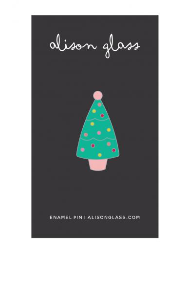 jade holiday tree enamel pin