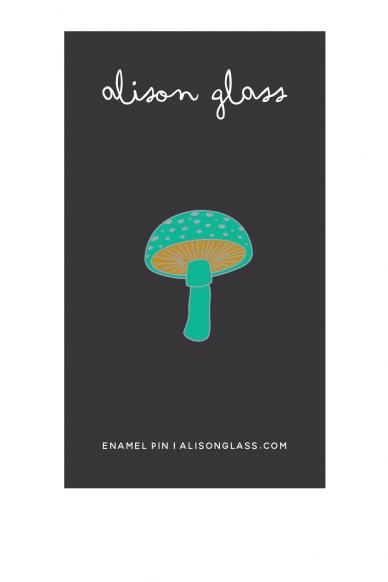 jade mushroom enamel pin