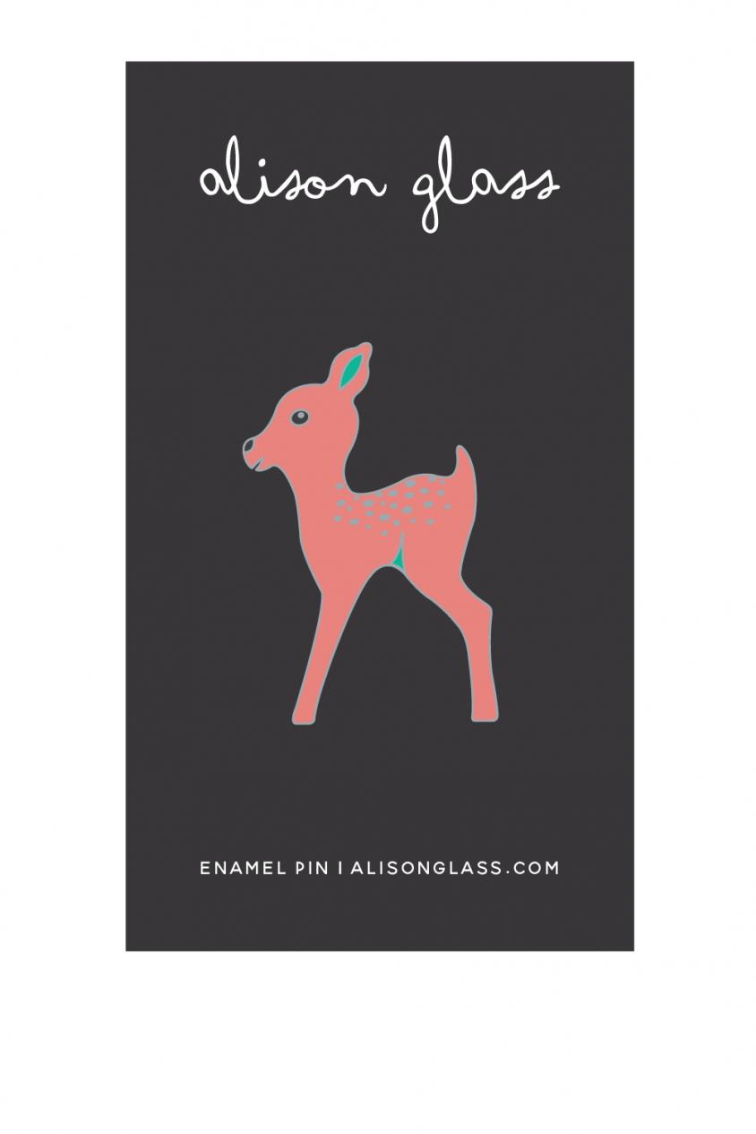 medium pink fawn enamel pin