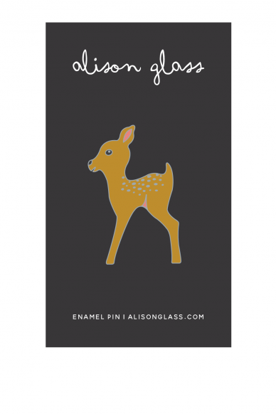 gold fawn enamel pin