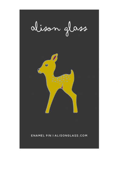 chartreuse fawn enamel pin