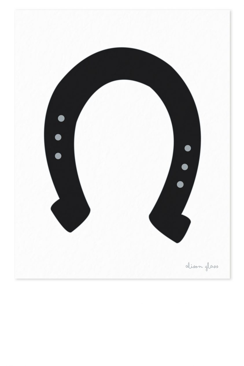 horseshoe in black art print