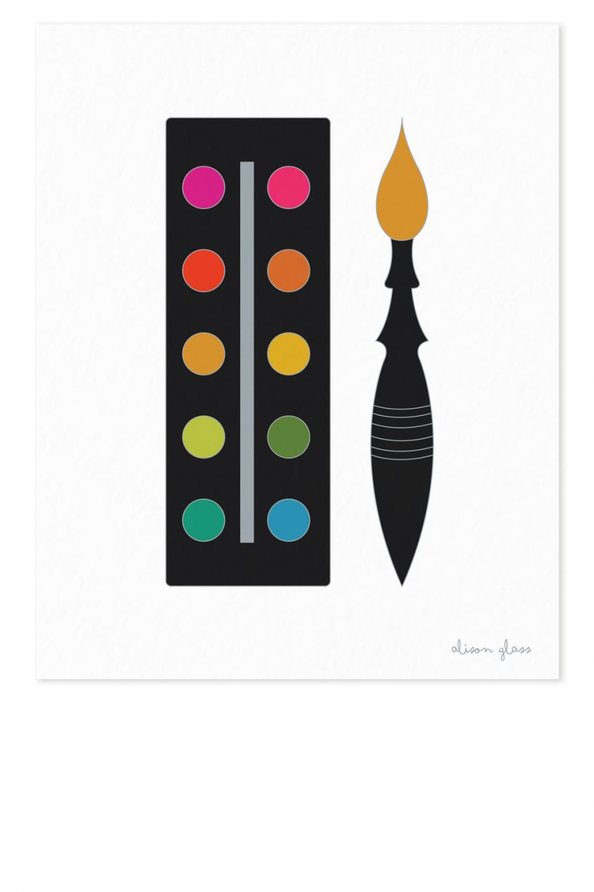 palette in black art print