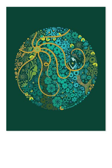 mermaid circle in jade art print