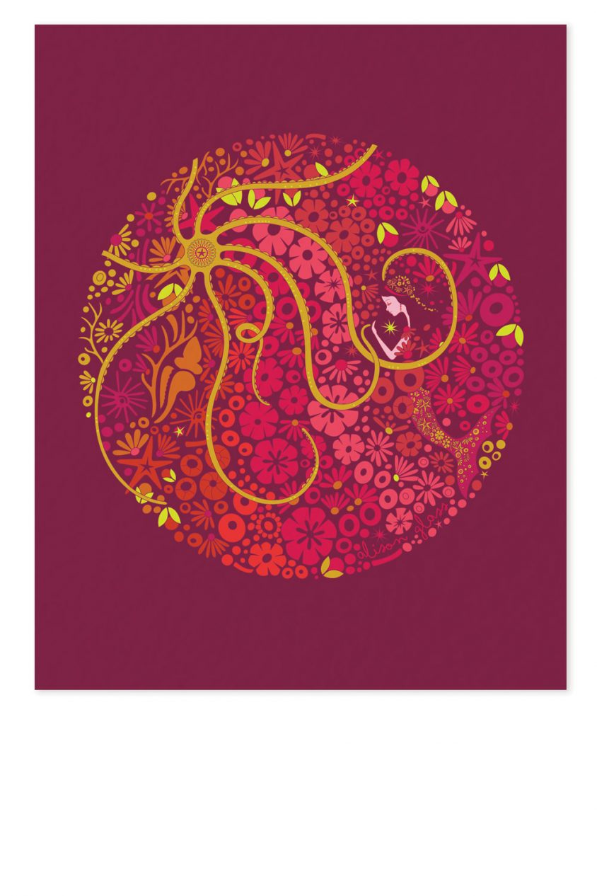 mermaid circle in pink art print