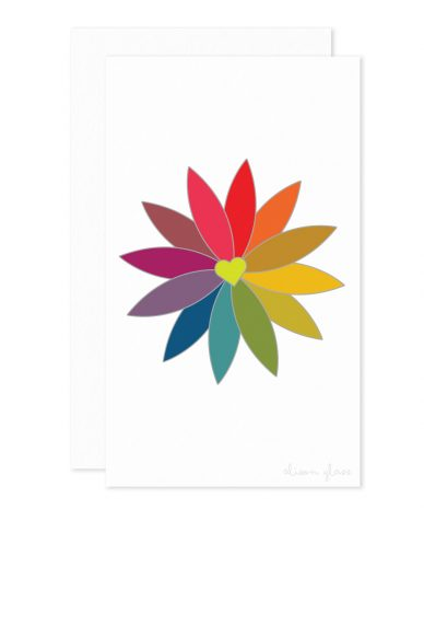 rainbow flower enclosure card
