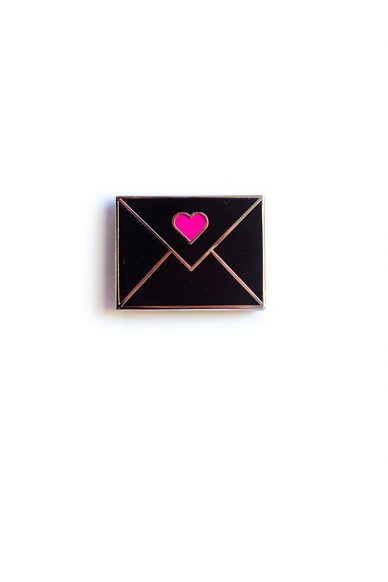 black envelope enamel pin