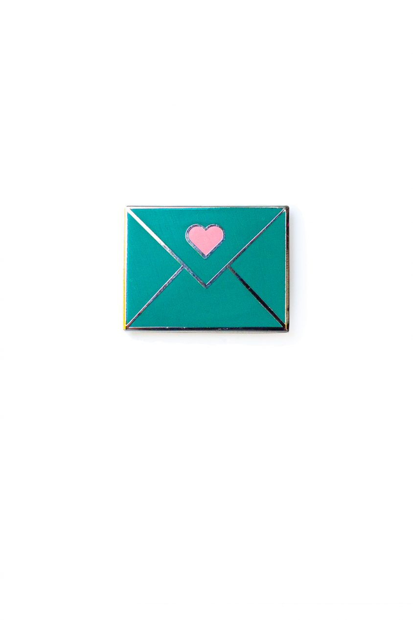 jade envelope enamel pin