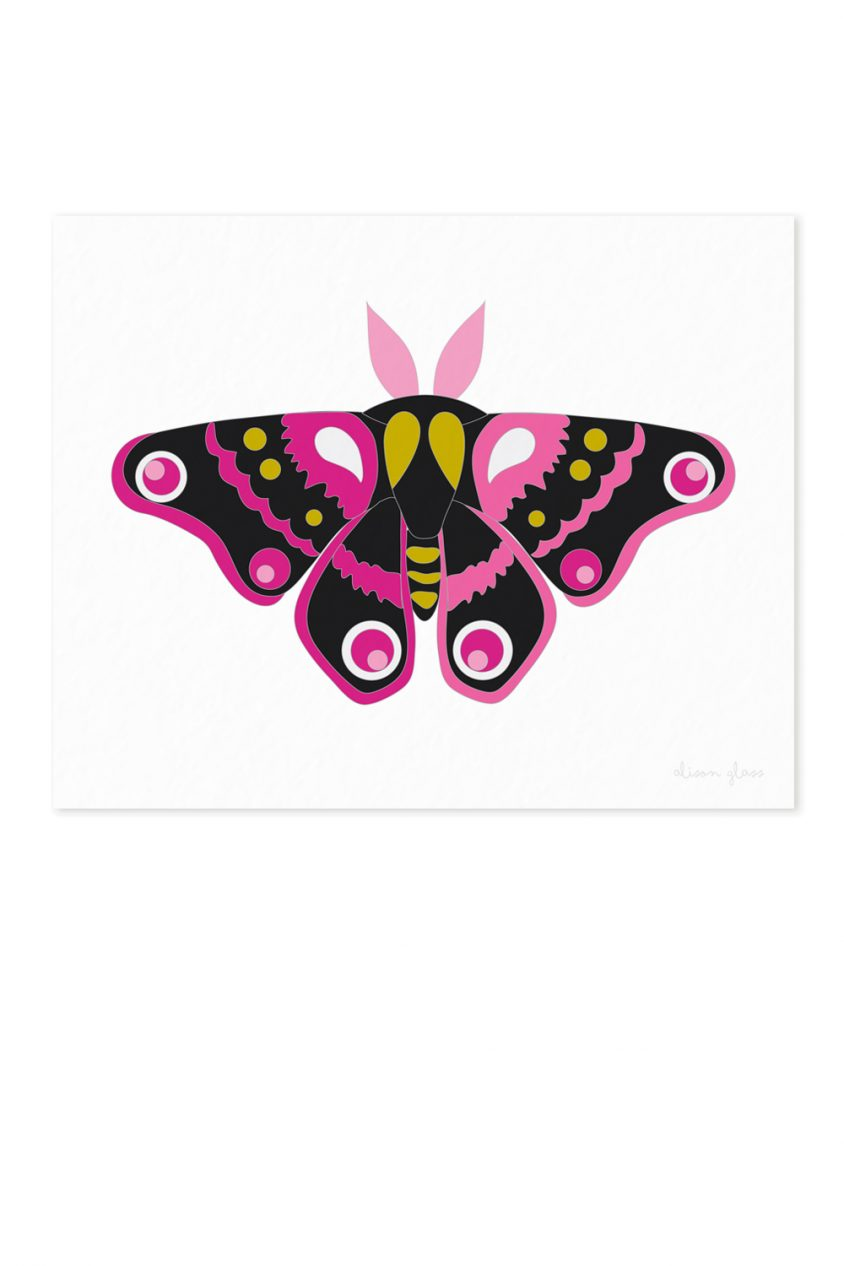 moth in black and pink art print