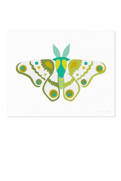 moth in jade and green art print