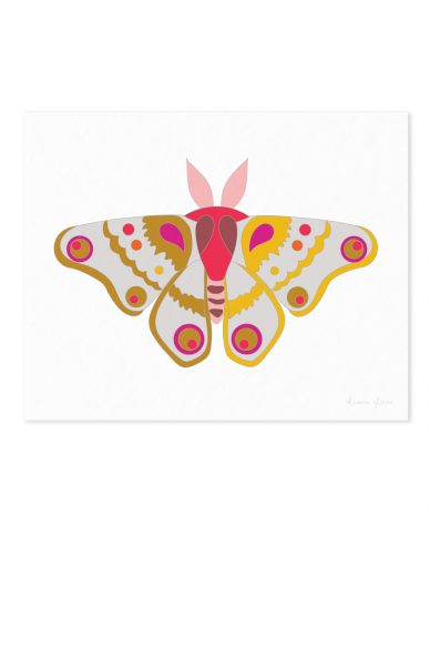 moth in gold and salmon Art Print