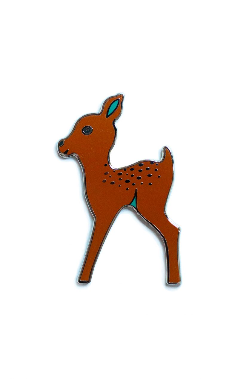 brown fawn enamel pin