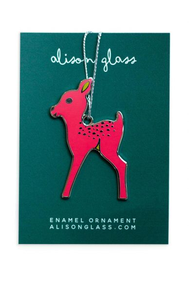 pink fawn ornament