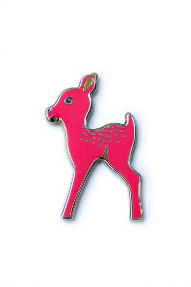 dark pink fawn enamel pin