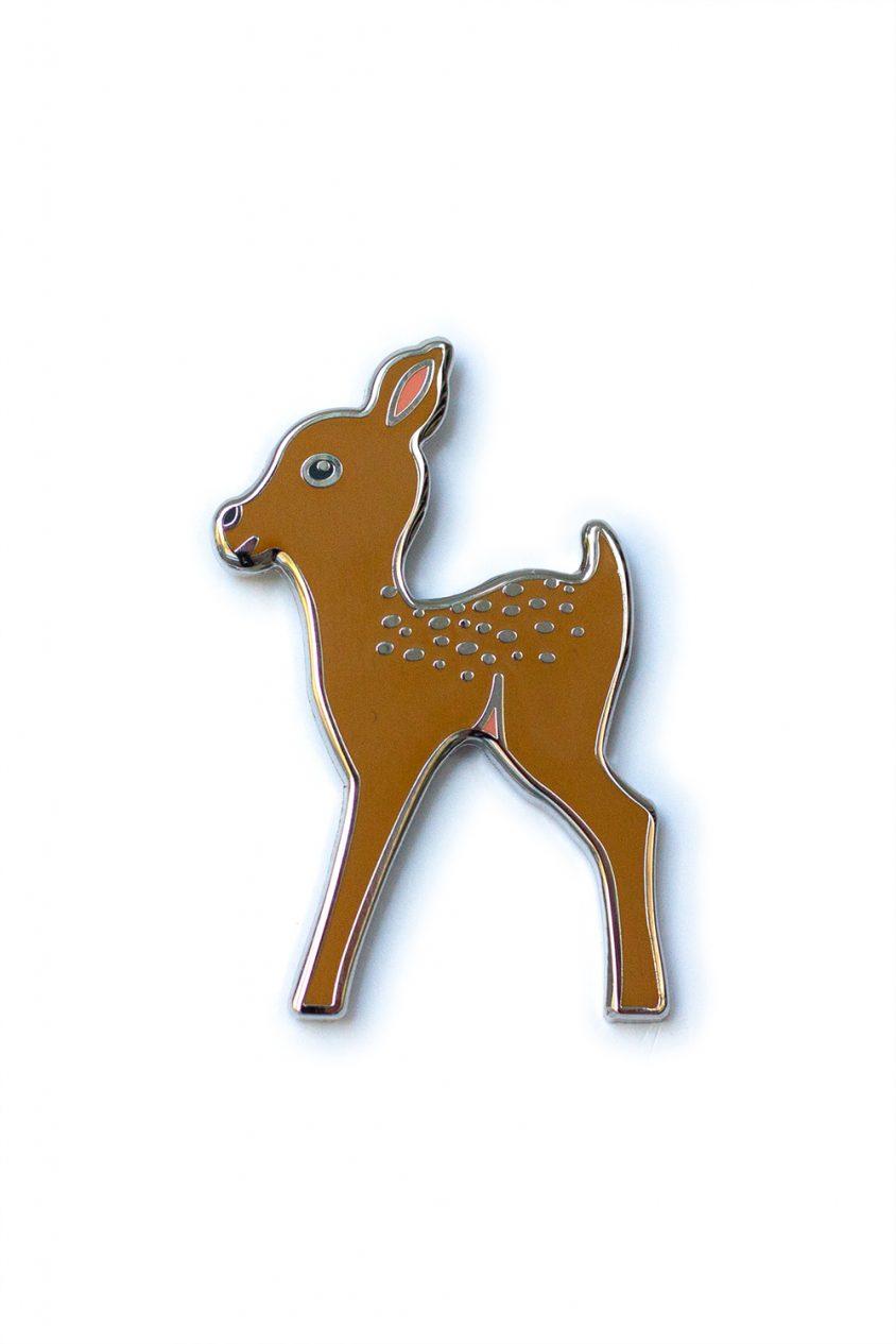 gold fawn enamel pin