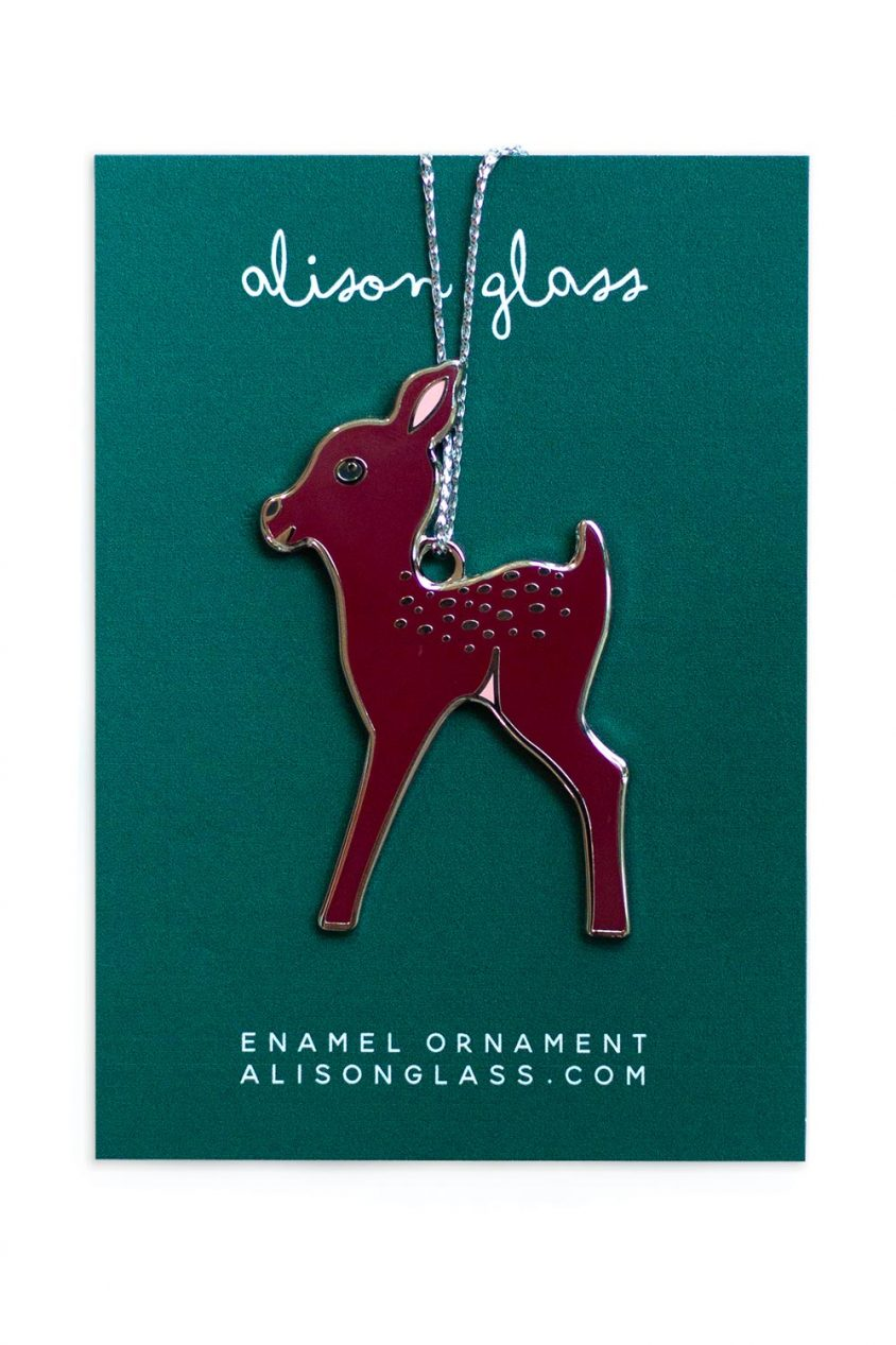 maroon fawn ornament