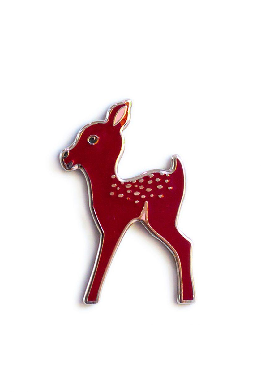 maroon fawn enamel pin
