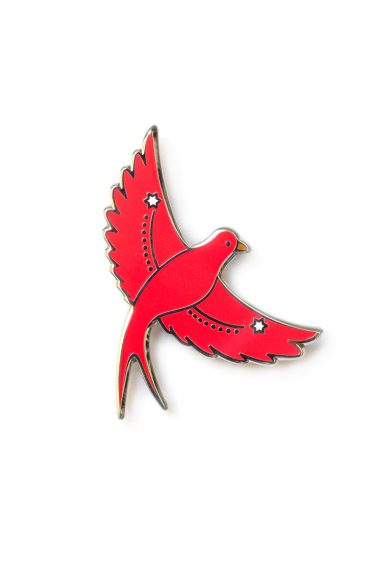 pink flying bird enamel pin