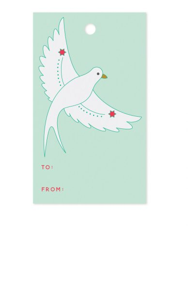 flying bird gift tag