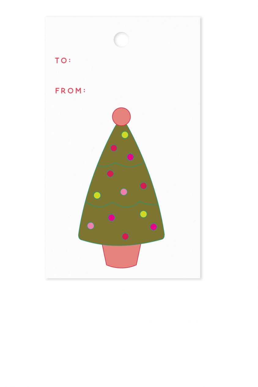 holiday tree gift tag