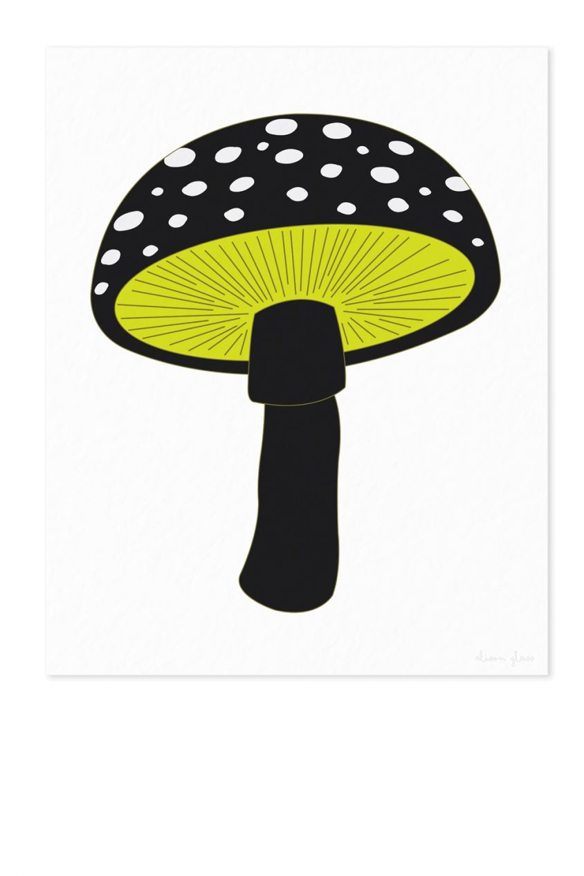 mushroom in black art print