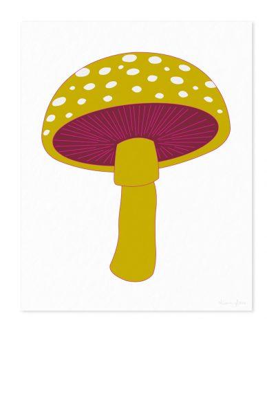 mushroom in mustard art print