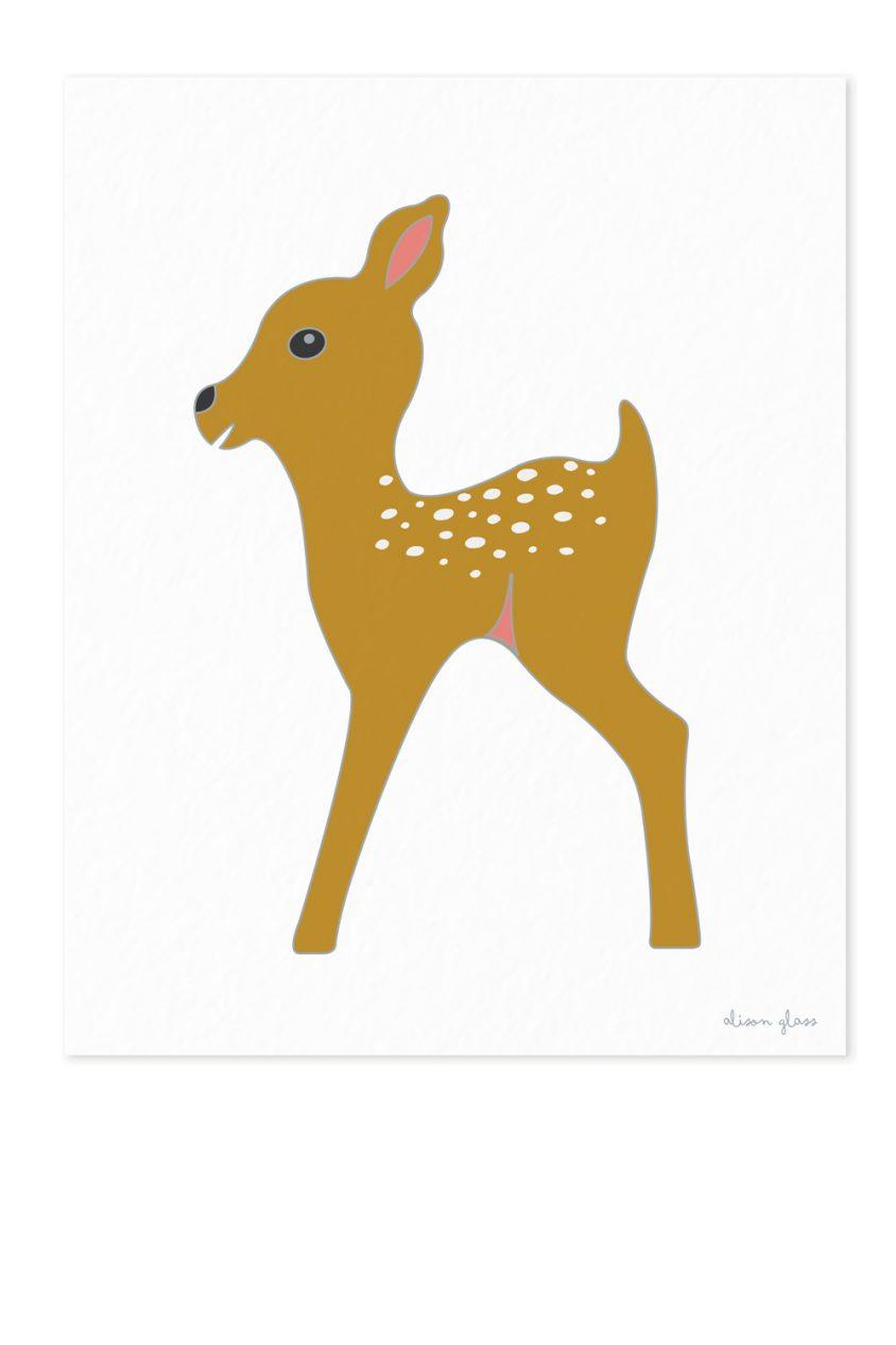 fawn in mustard art print