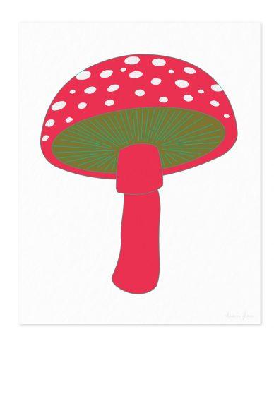 mushroom in pink art print
