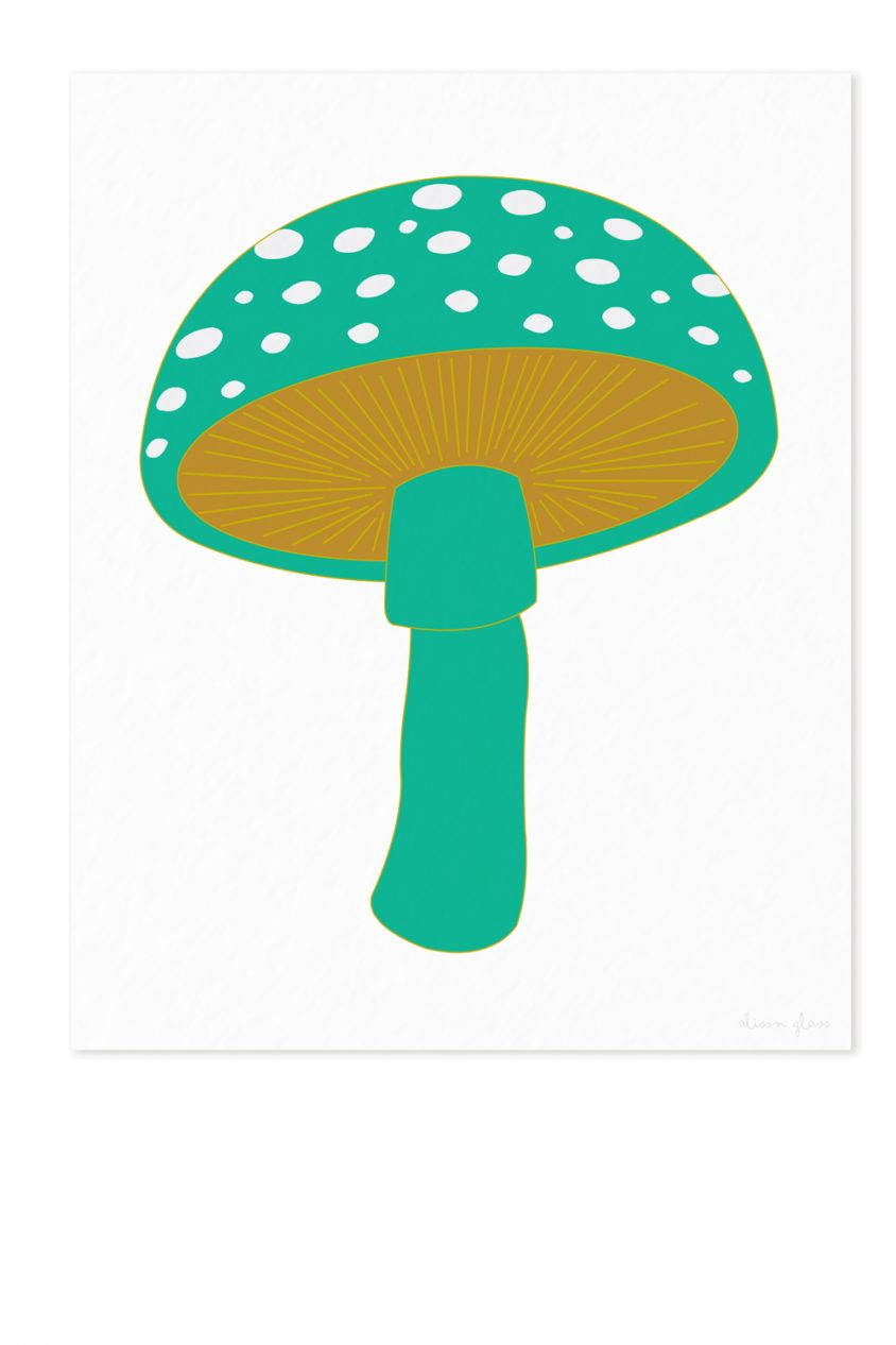 mushroom in jade art print