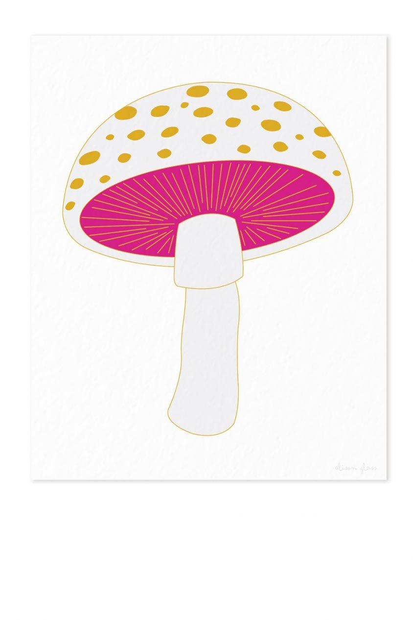 mushroom in white art print
