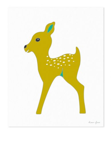 fawn in chartreuse art print