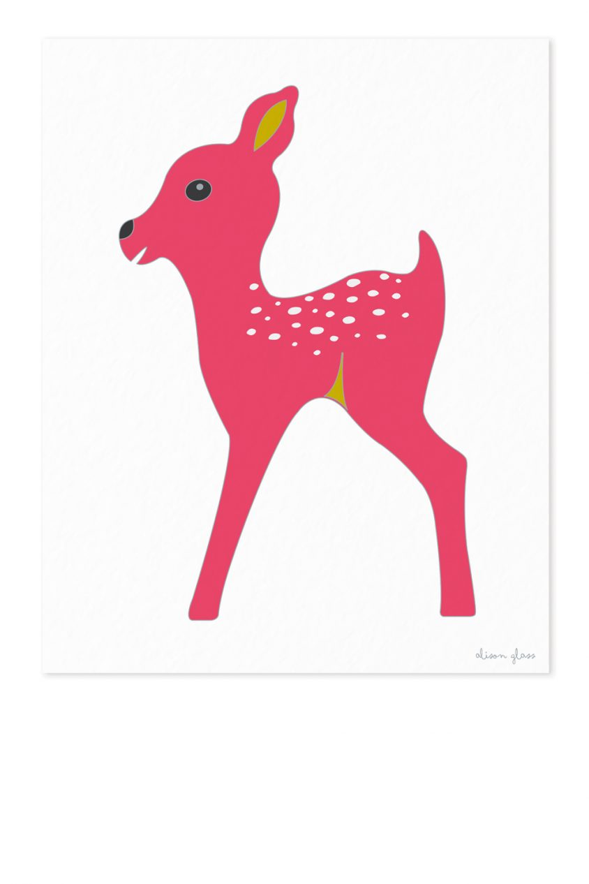 fawn in dark pink art print